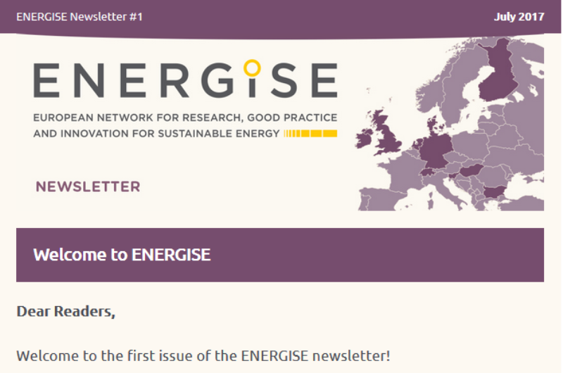 First ENERGISE Newletter available